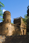 Gondar, Amhara Region, Ethiopia: Royal Enclosure - walls - round tower covered with enkulal top - photo by M.Torres
