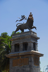 Addis Ababa, Ethiopia: Lion of Judah monument, once placed in Rome near the Vittorio Emanuelle memorial - photo by M.Torres