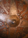 Axum - Mehakelegnaw Zone, Tigray Region: St Mary of Zion Museum - middle age shield - photo by M.Torres