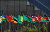 Addis Ababa, Ethiopia: United Nations Economic Commission for Africa - ECA Conference Center - African Flags - photo by M.Torres