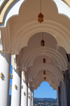 Addis Ababa, Ethiopia: Bole Medhane Alem Cathedral - under the front porch - three-foiled cusped arches - photo by M.Torres