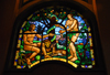 Addis Ababa, Ethiopia: Holy Trinity Cathedral - stained glass - paradise - Adam, Eve and the serpent - photo by M.Torres