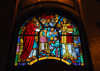 Addis Ababa, Ethiopia: Holy Trinity Cathedral - stained glass - gifts for the king- photo by M.Torres