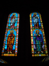 Addis Ababa, Ethiopia: Holy Trinity Cathedral - twin stained glass windows - saints - photo by M.Torres