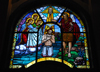 Addis Ababa, Ethiopia: Holy Trinity Cathedral - stained glass - Christ and the Holy Spirit - photo by M.Torres