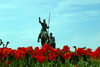 Donostia-San Sebastián, Gipuzkoa province, Euskadi: Don Quixote and Sancho ride in a field of tulips - photo by J.Zurutuza