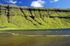 Kaldbaksfj�r�ur fjord, Streymoy island, Faroes: green cliffs and floating nets, barrier used in sea farming - east coast of the island - photo by A.Ferrari