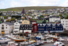 T�rshavn, Streymoy island, Faroes: Tinganes and the east harbour, Eystarav�g, behind it Gongin st - 19th century buildings and insurance company Trygd with fake gables - roof of the Vesturkirkjan stands out - photo by A.Ferrari