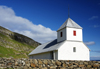 Kirkjub�ur, Streymoy island, Faroes: whitewashed walls of Saint Olav's church - Olavskirkjan - photo by A.Ferrari