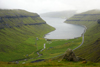 Streymoy island, Faroes: view over Kaldbaksfj�r�ur fjord, Kaldbaksbotnur village and the coastal road - east coast of Streymoy - photo by A.Ferrari