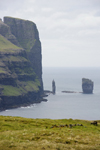 Eysturoy island, Faroes: view over Risin and Kellingin - basalt sea stacks - northern tip of the island - photo by A.Ferrari