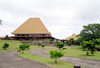 Suva, Viti Levu island, Fiji: Parliament House with traditional tall roof - photo by R.Eime