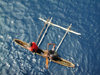 Denarau Island, Viti Levu, Fiji: outrigger canoe in the ocean - seen from above - photo by B.Cain