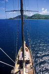 Sawa-I-Lau Island, Yasawa group, Fiji: aerial view of La Violante schooner taken from the crow's nest – mast top perspective - photo by C.Lovell
