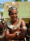 Rabi Island, Vanua Levu Group, Northern division, Fiji: man with traditional head gear - photo by R.Eime