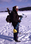 Finland - Lapland - Rovaniemi - fisherman prepares to drill the ice - Arctic images by F.Rigaud