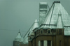Finland - Helsinki, Punavuori area, buildings in the mist - metal roofs - photo by Juha Sompinm�ki
