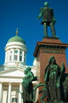 Finland - Helsinki - Statue of Tsar Alexander II with the Lutheran Cathedral in the background - Senate square - Helsingin tuomiokirkko / Helsingfors domkyrka - photo by Juha Sompinm�ki