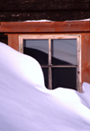 Finland - Lapland - Saarselkä - snow covered window - Arctic images by F.Rigaud