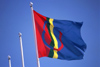 Finland - Lapland / Lappi: Lap / Sami flag (photo by F.Rigaud)