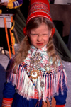 Finland - Hatta / Heahtta - Lapland - Enontekiö municipality: Sami girl in traditional dress (photo by F.Rigaud)