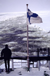 Finland - Lapland - Kemi - Gulf of Bothnia - stern - Finnish flag - Arctic images by F.Rigaud