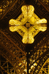 Paris, France: dramatic straight up angle of the Eiffel Tower shot at night - 7e arrondissement - photo by C.Lovell