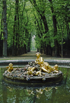Versailles, Yvelines, Île-de-France, France: fountain with gilded statues in the gardens of Versailles Palace - photo by C.Lovell