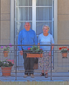 France - Le Havre (Seine-Maritime, Haute-Normandie): Retired Couple - balcony - photo by A.Bartel