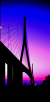Le Havre, Seine-Maritime, Haute-Normandie, France: Normandy Bridge at dusk - silhouette - photo by A.Bartel