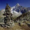 France  - Petit Dru / Petit Aiguille du Dru, Haute-Savoie: 3733m mountain in the Mont Blanc massif and cairn, seen from the the mountain-station Le Montevers - west ridge of the Aiguille Verte, Graian Alps - photo by W.Allgower