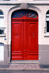 Le Havre, Seine-Maritime, Haute-Normandie, France: double red door - photo by A.Bartel