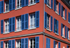 Le Havre, Seine-Maritime, Haute-Normandie, France: Apartments - windows with blue wood blinds - photo by A.Bartel