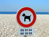 Le Havre, Seine-Maritime, Haute-Normandie, France: No Dogs allowed sign, Beach - photo by A.Bartel