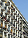 Le Havre, Seine-Maritime, Haute-Normandie, France: balconies - block of Council Flats, HLM - Normandy - photo by A.Bartel