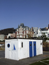 Le Havre, Seine-Maritime, Haute-Normandie, France: Portacabin, white container with blue doors, seasonal beach restaurant construction - Villa Maritime - photo by A.Bartel