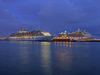 Le Havre, Seine-Maritime, Haute-Normandie, France: Cruise Ships at dusk - P+O Arcadia and Celebriy Eclipse - photo by A.Bartel