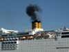 Le Havre, Seine-Maritime, Haute-Normandie, France: Diesel Fumes, Costa Romantica Cruise Ship - Normandy - photo by A.Bartel