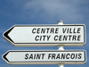 Le Havre, Seine-Maritime, Haute-Normandie, France: Bilingual 'City Centre' sign, English, French - Saint Francois sig - photo by A.Bartel