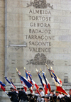 France - Paris: parade - anciens combatants - war veterans march with flags at the Arc de Triomphe - Almeida to Valencia - photo by K.White