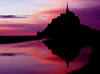 France - Mont St Michel (Manche, Normandy): dusk - reflection in the bay - photo by R.Sousa