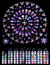 France - Paris: Notre Dame - stained glass - rose-window / rosace -  south arm of the transept - photo by A.Caudron