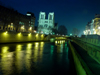 France - Paris: Notre Dame - Île de la Cité - night on the Seine - photo by A.Caudron