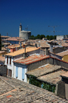 France - Languedoc-Roussillon - Gard - Aigues-Mortes - view over the roof tops towards Tour de Constance - photo by T.Marshall