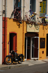 France - Languedoc-Roussillon - Pyrénées-Orientales - Collioure - Cotlliure - shop front with bikes - photo by T.Marshall