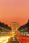 Paris, France: car lights along Avenue des Champs-Élysées - nocturnal view of the Arc de Triomphe - 8th arrondissement - photo by A.Bartel