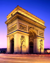 Paris, France: Arc de Triomphe at night - astylar design by architect Jean Chalgrin - photo by A.Bartel