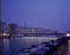 Paris, France: Seine barges and the Austerlitz Bridge - engineer Louis Biette - nocturnal - between the 5th and 12th arrondissments - Metallic architecture - Metro line 5 -  Austerlitz Viaduct - photo by A.Bartel