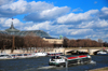 Paris, France: Seine river - river barge going upstream, near the Grand Palais and Pont de Invalides, seen from Quai d'Orsay - 7e and 8e arrondissement - photo by M.Torres