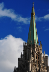 Paris, France: spire of the American Church in Paris with crocket capitals - interdenominational church - neo-Gothic architecture by Carrol Greenough - Quai d'Orsay - église américaine de Paris - 7e arrondissement - photo by M.Torres